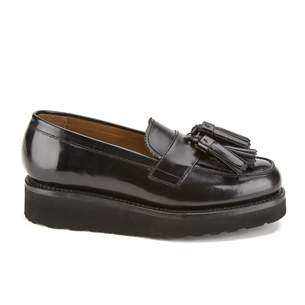 bf68c5f919b Grenson Women s Clara V Leather Tassle Loafers - Black Hi Shine ...