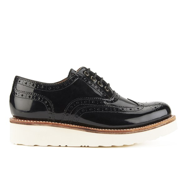 Grenson Women's Emily V Patent Leather Brogues - Black Patent