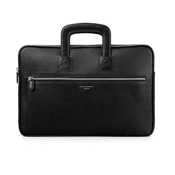 Aspinal of London Men's Connaught Document Case - Black
