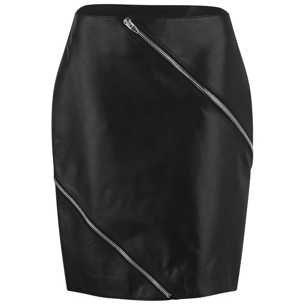 Alexander Wang Women's Diagonal Zip Detail Pencil Skirt - Nocturnal