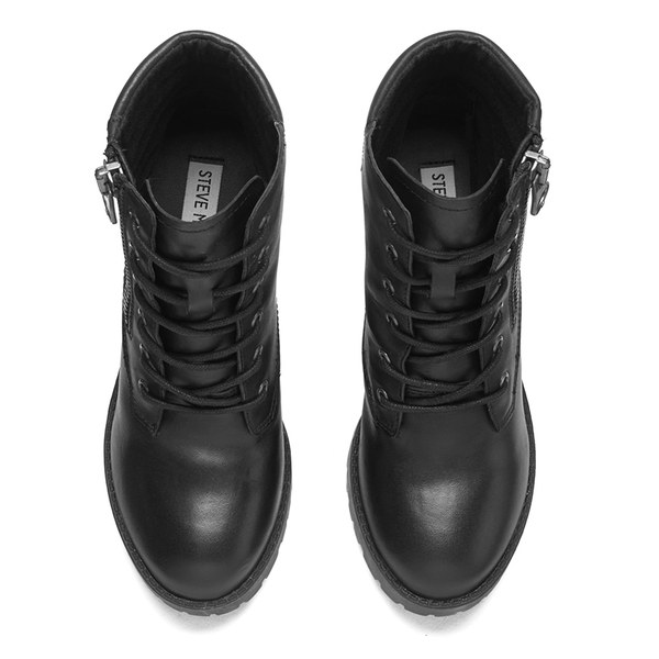 ce87a36596 Steve Madden Women's Noodless Zip and Lace Up Leather Ankle Boots - Black  Leather: Image