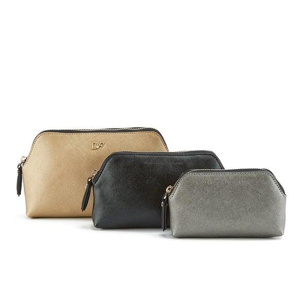 Diane von Furstenberg Women's Voyage Triplet Set Cosmetic Bag - Leather Gold/Granite/Black