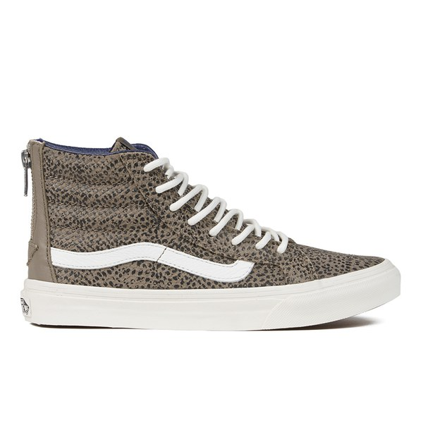 28dbb61aede5f4 Vans Women s SK8-Hi Slim Zip Cheetah Suede Hi-Top Trainers - Black ...