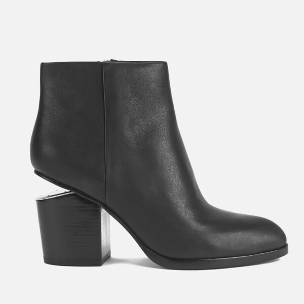 Alexander Wang Women's Gabi Leather Heeled Ankle Boots - Black/Rhodium
