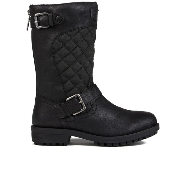Barbour International Women's Shadow Quilted Leather Biker Boots ... : quilted biker boots - Adamdwight.com