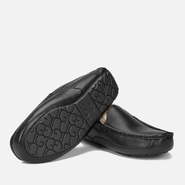 f0a5607ca57 UGG Men s Ascot Grain Leather Slippers - Black  Image 6