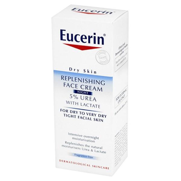 eucerin dry skin replenishing face cream night 5 urea with lactate 50ml free shipping. Black Bedroom Furniture Sets. Home Design Ideas