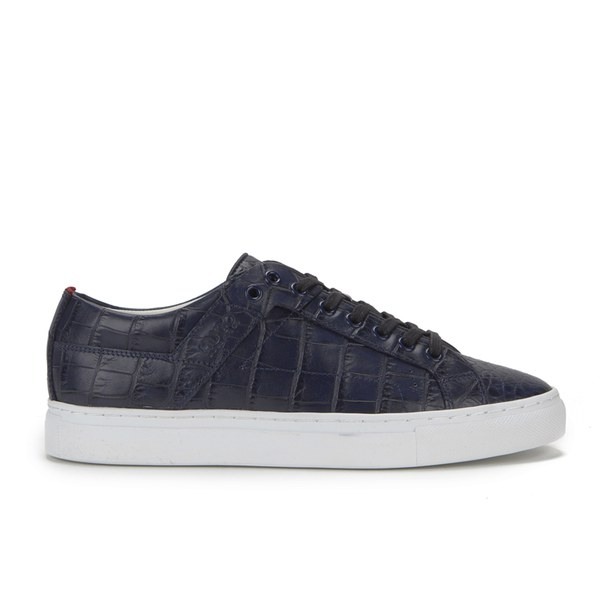HUGO Women's Corynna Croc Leather Mid Low Trainers - Open Blue