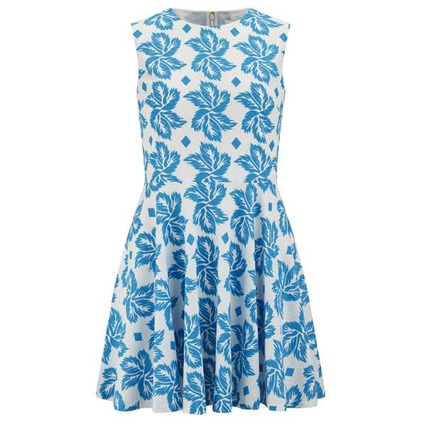 Diane von Furstenberg Women's Jeannie Dress - Giant Leaf Floral Blue