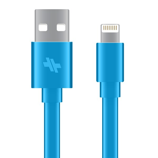 Swiss Mobility Sync/Charge Flat Cable (4ft.) Lightning Devices - Turquoise