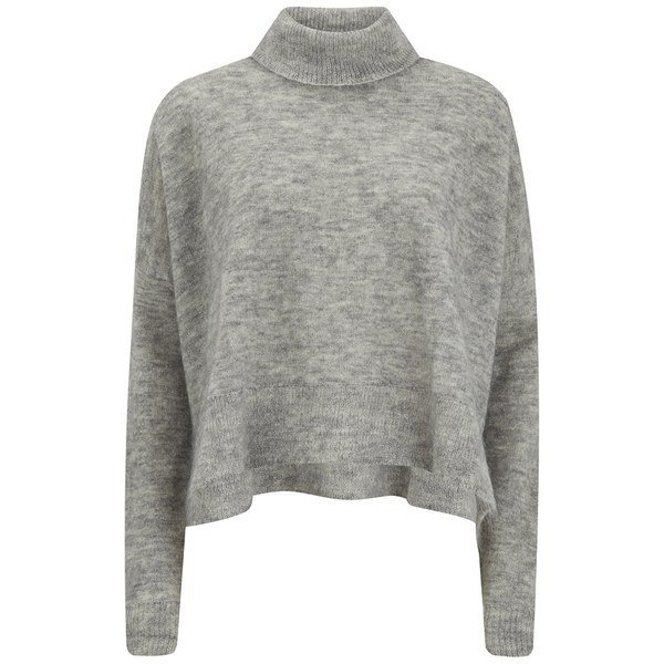 Designers Remix Women's Fino Neck Turtle Neck Sweatshirt with Side Slits - Grey Melange
