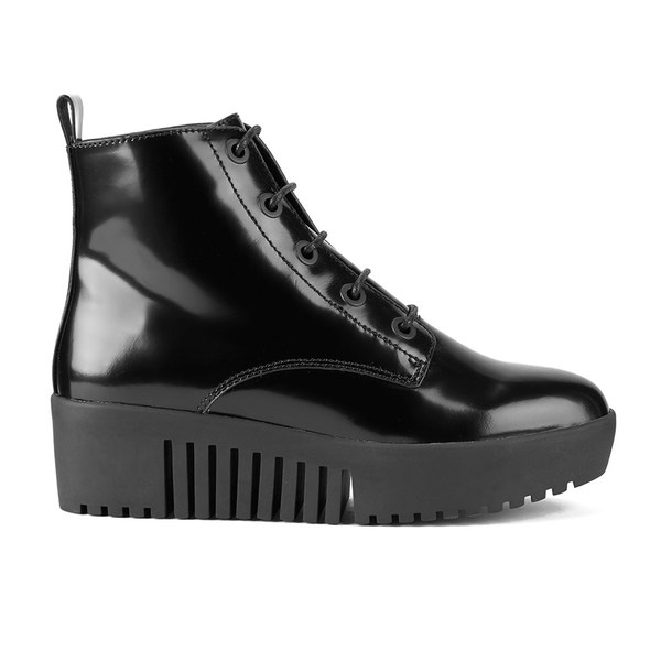 Opening Ceremony Women's Shiny Grunge Leather Lace Up Platform Boots - Black