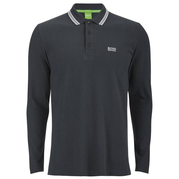160b14281 BOSS Green Men's Plisy Long Sleeve Basic Polo Shirt - Navy Clothing ...