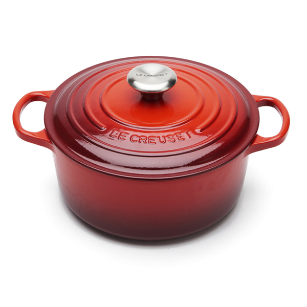 le creuset signature cast iron round casserole dish 24cm cerise homeware. Black Bedroom Furniture Sets. Home Design Ideas