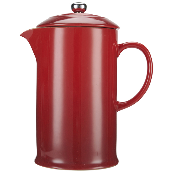 le creuset stoneware cafetiere coffee press cerise free uk delivery over 50. Black Bedroom Furniture Sets. Home Design Ideas