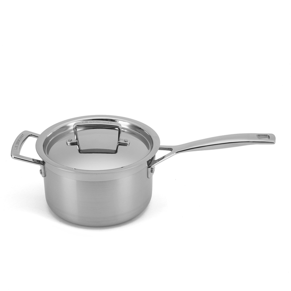 le creuset 3 ply stainless steel saucepan with lid 18cm iwoot. Black Bedroom Furniture Sets. Home Design Ideas