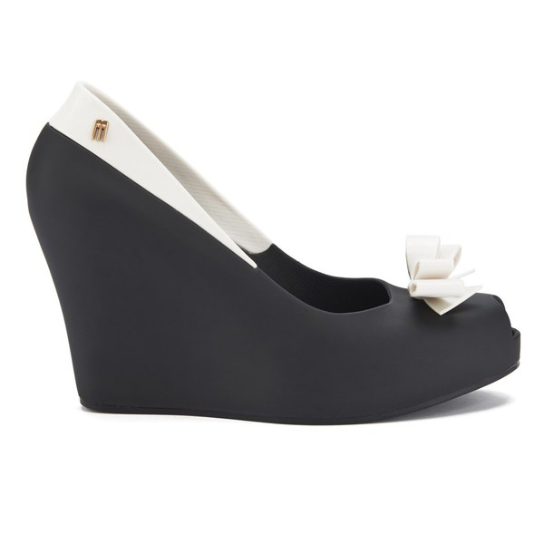 Melissa Women's Queen Peep Toe Wedges - Black White: Image 1