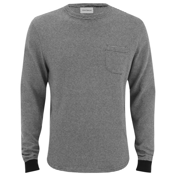 Oliver Spencer Men's Rica Crew Neck Long Sleeve Top - Navy/Oatmeal