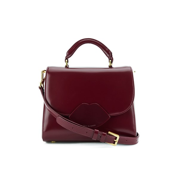 9a569c4178d Lulu Guinness Women s Izzy Small Polished Calf Leather Grab Bag - Garnet   Image 1
