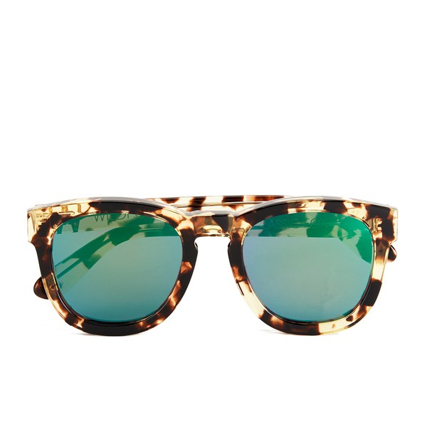 Wildfox Women's Classic Fox Deluxe Sunglasses - Amber Tortoise/Green Mirror
