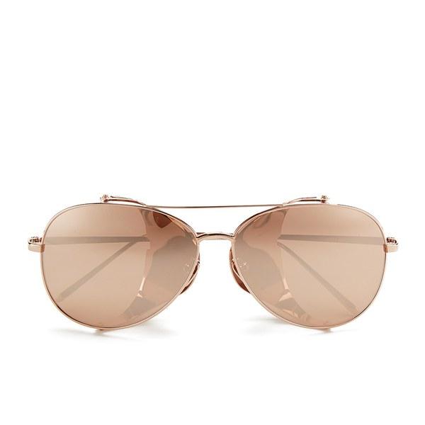 Linda Farrow Women's Rose Gold Lens Sunglasses - Gold Snakeskin Rose