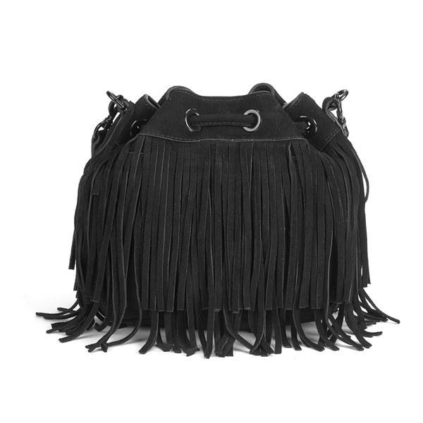 Rebecca Minkoff Women S Suede Fringe Mini Fiona Bucket Bag Black Image 5