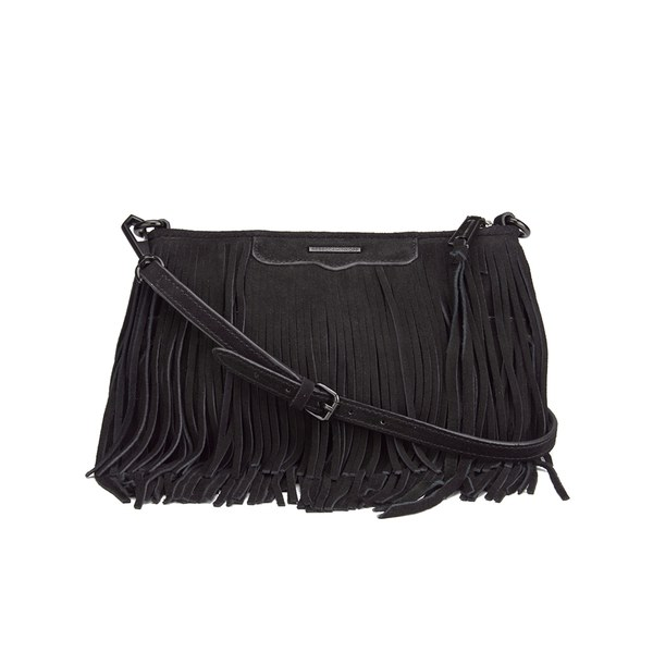 Rebecca Minkoff Women s Suede Fringe Finn Crossbody Bag - Black - Free UK  Delivery over £50 b750377f9ddca