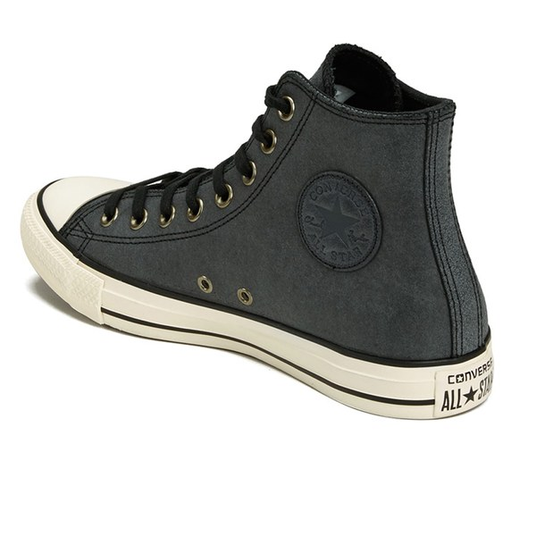 Converse Mens Chuck Taylor All Star Vintage Leather HiTop Trainers Black Egret