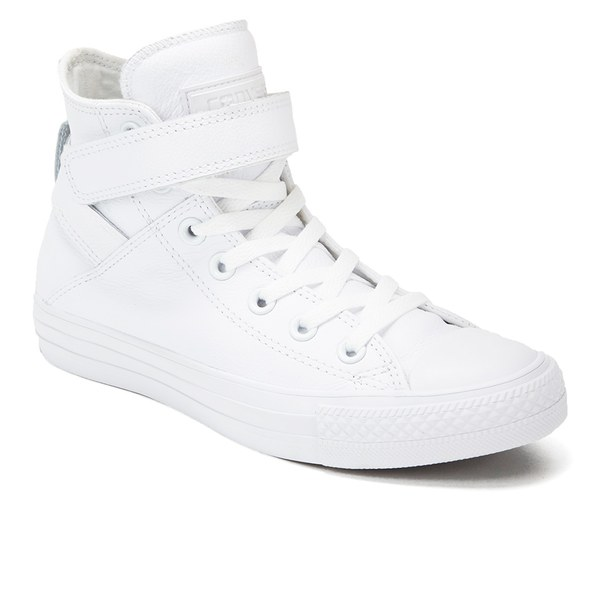 2596c6ef659697 Converse Women s Chuck Taylor All Star Brea Leather Hi-Top Trainers - White   Image
