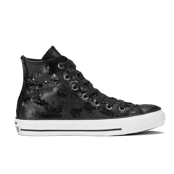 CONVERSE womens CHUCK TAYLOR ALL STAR HARDWARE Black / Silver Hi top trainers