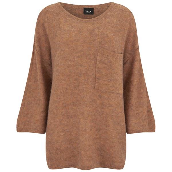 VILA Women's Loose Knitted Pocket Jumper - Autumn Leaf
