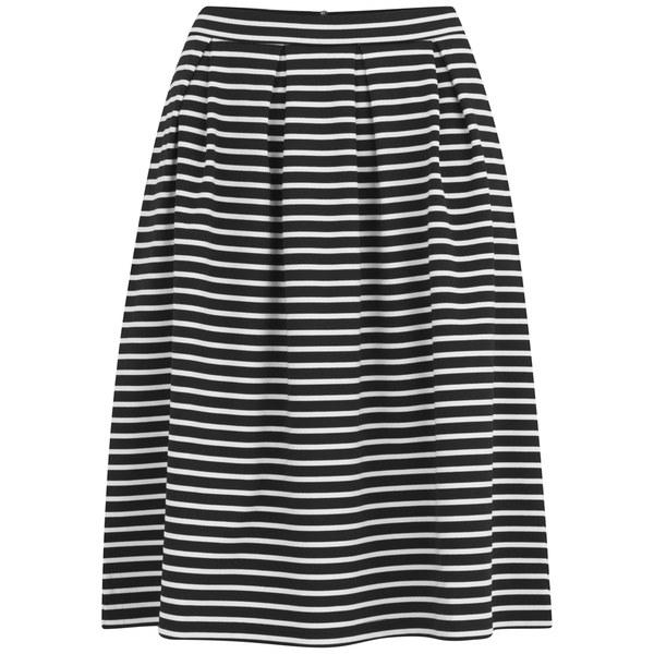 9d1c4304d6e VILA Women s Jaeger Stripe Midi Skirt - Black Womens Clothing ...