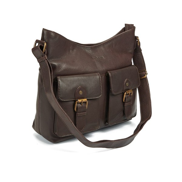 Barbour Women's Slateford Leather Shoulder Bag - Dark Brown - Free ...