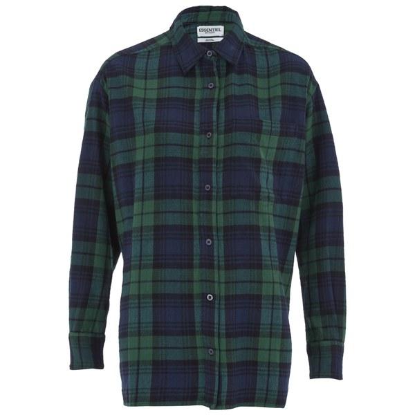 Essentiel Antwerp Women's Flannel Lace Shirt - Green
