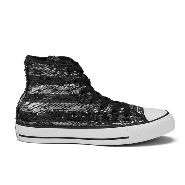 Converse Women's Chuck Taylor All Star Sequin Flag Hi-Top Trainers - Black/Silver/White