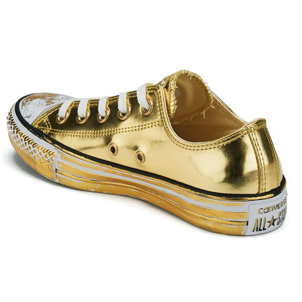 159edbb641aef1 Converse Women s Chuck Taylor All Star Chrome Leather Ox Trainers -  Gold White Black