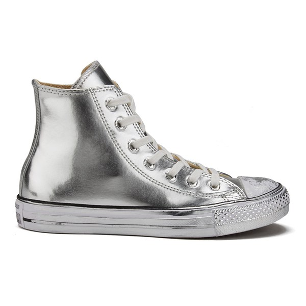 5ef74569a7f7 Converse Women s Chuck Taylor All Star Chrome Leather Hi-Top Trainers -  Silver White Black