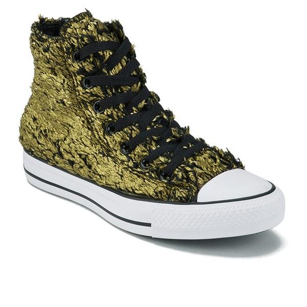 48b281a2566a6f Converse Women s Chuck Taylor All Star Sparkle Fur Hi-Top Trainers - Gold  Black