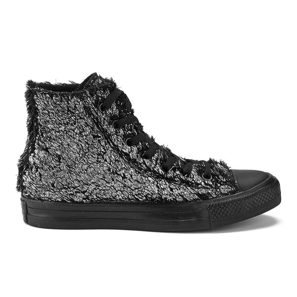 53a1db91a785 Converse Women s Chuck Taylor All Star Sparkle Fur Hi-Top Trainers - Silver  Black