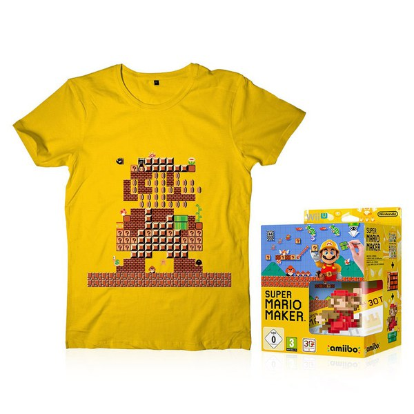 Super Mario Maker + Mario Classic Colour amiibo + T-Shirt
