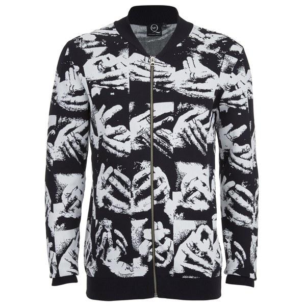 McQ Alexander McQueen Men's Zip Through Hand Jacquard Knitted Cardigan - Black/White