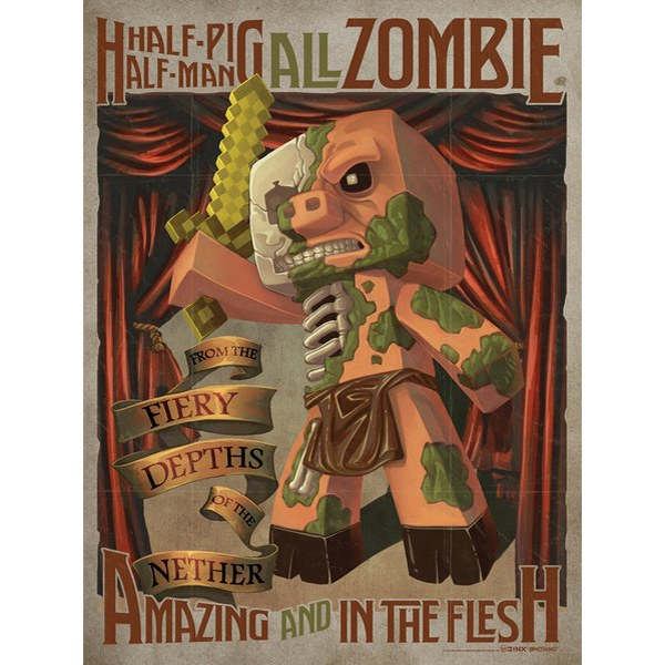 Minecraft Half Pig Half Man - 24 x 36 Inches Maxi Poster