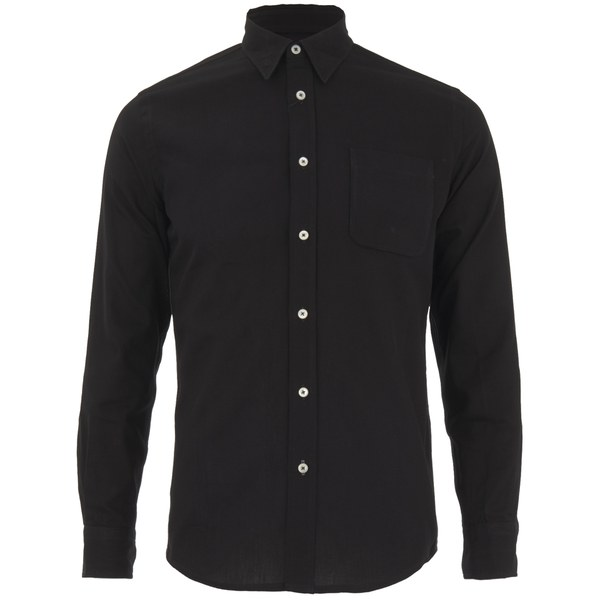 Knutsford x Tripl Stitched Men's Long Sleeve Woven Pique Shirt - Black