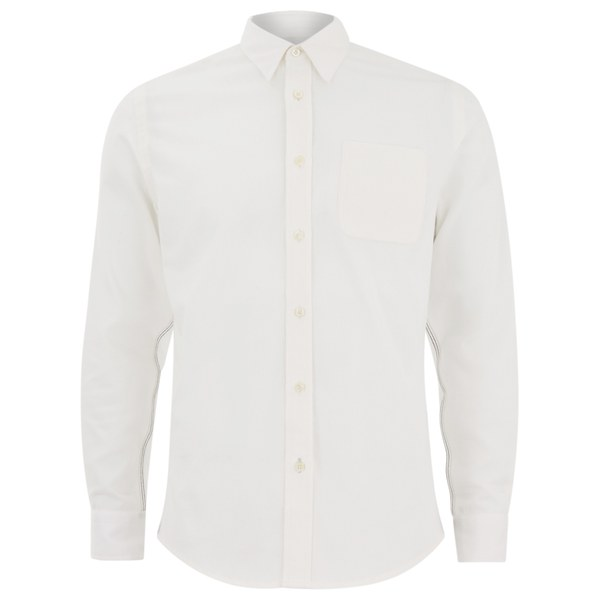 Knutsford x Tripl Stitched Men's Long Sleeve Woven Pique Shirt - White