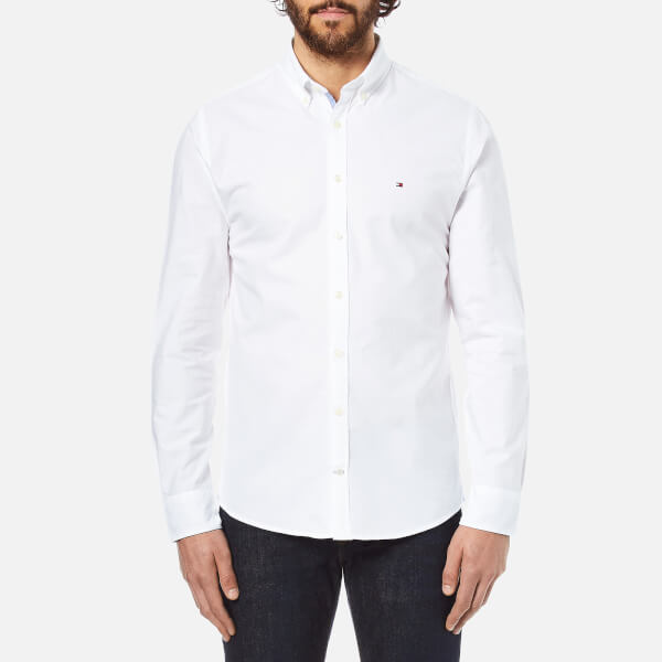 Tommy Hilfiger Men's Plain Oxford Long Sleeve Shirt - White