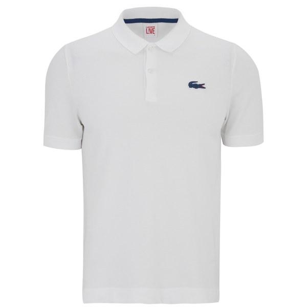 Lacoste Live Men S Short Sleeve Largo Logo Polo Shirt White Free