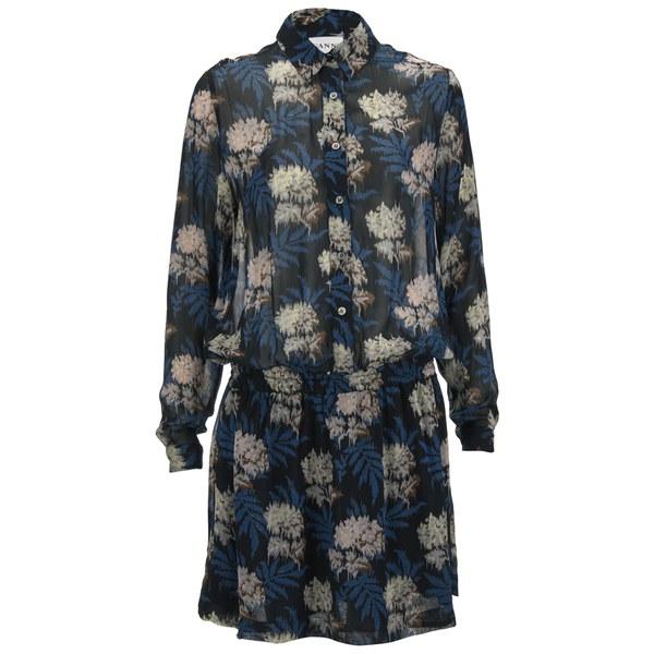 Ganni Womens Park Row Georgette Dress - Autumn Flower