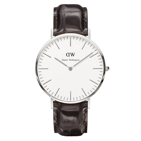 Daniel Wellington Classic York 36mm Silver Watch - Croc Brown