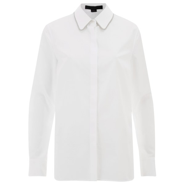 Alexander Wang Women's Fitted Shirt with Ballchain Collar - Sterile