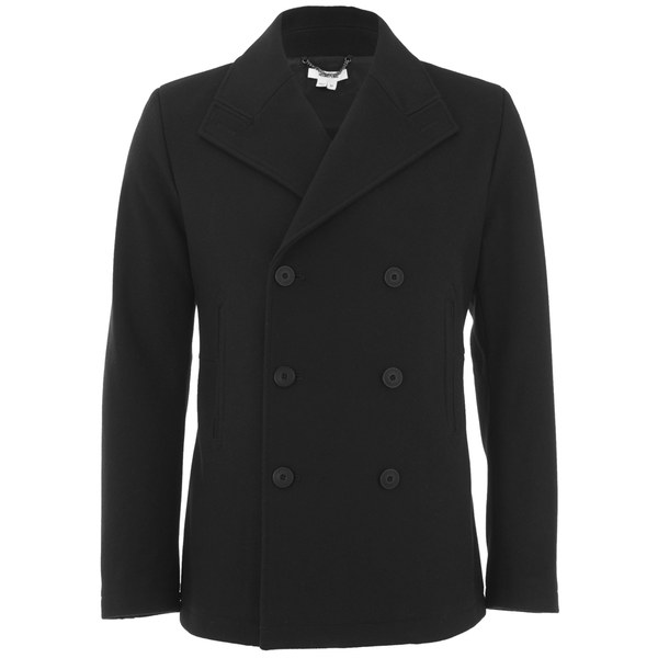 Helmut Lang Men's Shield Melton Peacoat - Black
